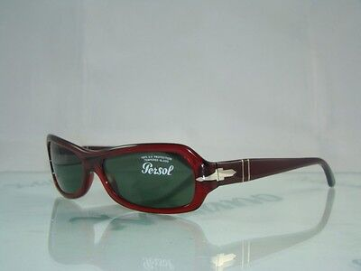 89ea4503e6 New PERSOL 2807S 126 31 RED Sunglasses Green Tempered Lens Size 56-15-135