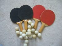 4 old tennis table bats and quanity of ping pong balls - Southbourne