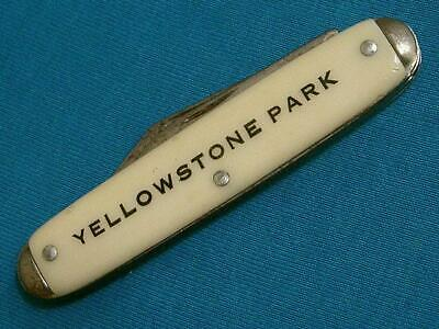 VINTAGE USA YELLOWSTONE PARK ADVERTISING FOLDING CIGAR JACK KNIFE KNIVES POCKET