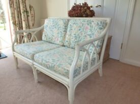 Cane Settee - 2 seater, white painted frame.