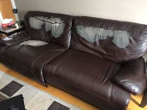 Motorized Faux Leather Couch