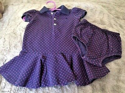 Ralph Lauren Baby Girl Navy Blue Dress w/Pink Dots, w diaper cover  9 M