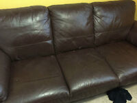 FREE Leather Couch Brown - AS IT IS