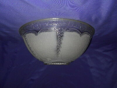 VINTAGE CREME FROSTED FLORAL FLOWER TEXTURED GLASS GLOBE SHADE 3 HOLES ART DECO