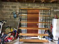 Free Standing Steel framed Oak shelves - moved to garage for convenience