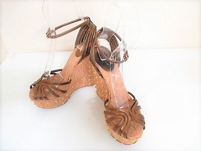 Auth GUCCI Bronze Leather Sandals Women