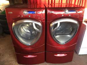 Clean GE Profile Red front load washer & electric dryer 2 YRS OL
