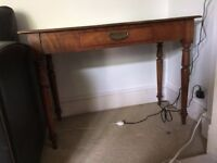 Antique Light Oak Ladies Writing Desk with Beautiful Inlaid Green Leather Top. £110 ono