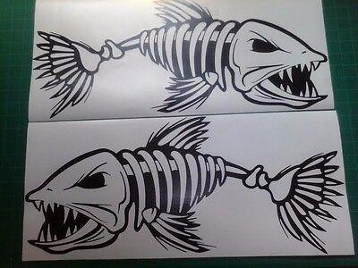 (2) Skeleton Fish boat Decals large vinyl graphic Fishing sticker 10