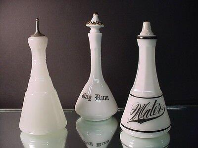 3 Victorian Barber Bottles - 2 Clamsbroth Plain & Water, & Milk Glass Bay Rum (Plain Water Bottles)