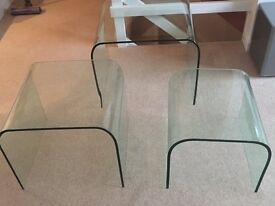 NEST OF 3 GLASS COFFEE TABLES (CARGO BRAND).
