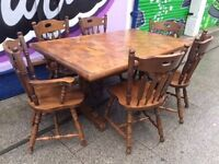 UNIQUE WOODEN DINING TABLE WITH 6 CHAIRS