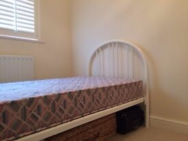 White tubular 3 foot single bed for sale complete with mattress. Excellent condition