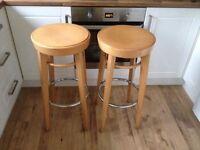2 x wooden bar stools