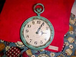 Pocket Watch Style Distressed Finish Wall Clock working order 7 x 4.5  aqua