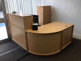 OFFICE RECEPTION DESK in 3 parts + SMALL FILER CABINET , great condition £170.