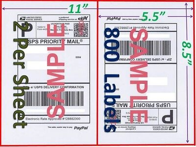 800 Self Adhesive Shipping Blank Labels 8.5x5.5 Paypal