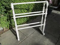 TRUE VINTAGE EARLY 20TH CENTURY FREE STANDING PAINTED WOOD TOWEL RAIL-COLLECT OSSETT, WAKEFIELD-VGC.