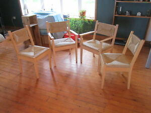 FOUR MAPLEWOOD WICKER CHAIRS