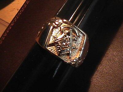 Masonic 14Kt  Yellow Gold and Diamond Ring