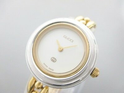 Auth GUCCI Bezel Watch 11/12 White Gold Silver 0042126 Women