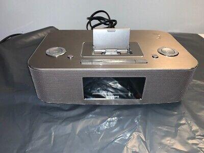 Philips DC290 B/37 Radio iPod/iPhone Alarm Clock Speaker Dock 30 Pin Aluminum