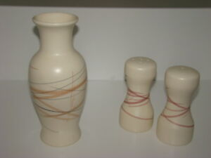 Ceramic Salt and Pepper with Matching Vase