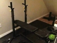 Northern Light Narrow Bench/Squat Rack + 150lbs Weights + Bar
