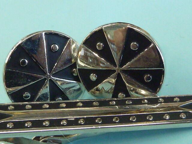 Vintage SWANK Tie Clip & Cuff Links Set Cufflinks Silver Tone & Black Cufflink