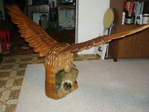 Beautiful Hand carved wooden Bald Eagle on Duck Cambridge Kitchener Area image 8