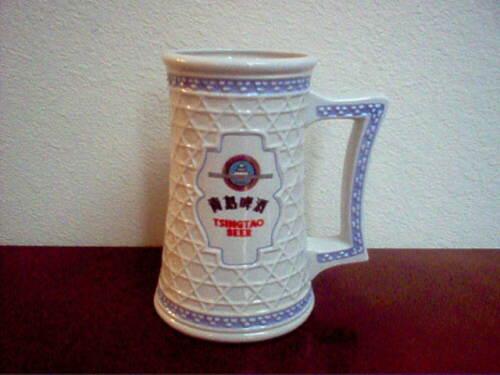 """TSINGTAO Ceramic Beer Stein/Mug  7"""" High"""