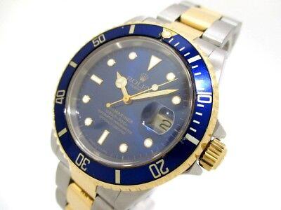 Auth ROLEX Submariner Date 16613 Silver Submariner Date Wrist Watch E405697