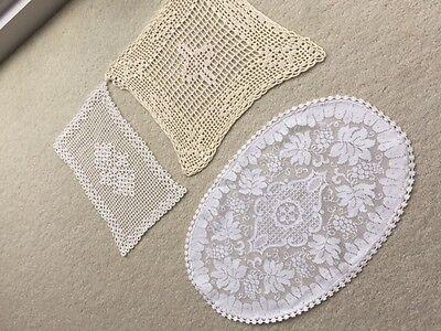3 Vintage Dressing Table mats/doilies