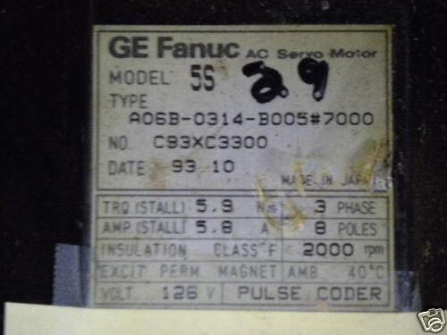 GE FANUC A06B-0314-B005 #7000 USED A06B0314B0057000