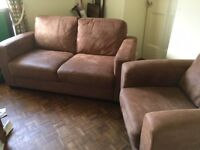 Sofa and arm chair, suede effect, brown, smaller size, excellent condition £220.00