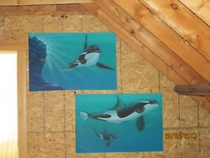 Whale paintings on canvas