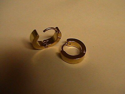 14 mm (1/2 inch) Stainless Steel Yellow Gold Small Hoop Huggie Earrings