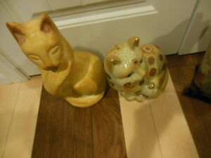 cat lovers, 2 different cat statues, and one big-cat vase London Ontario image 7