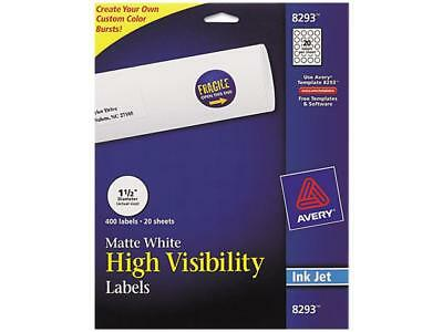 Vibrant Color-printing Round Address Labels 1 12 Dia White 400pack