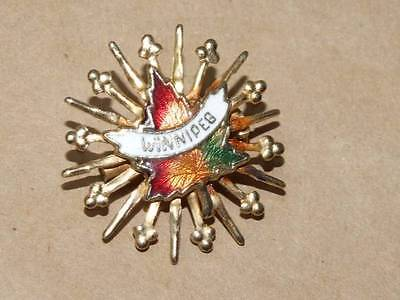 Vintage Winnipeg CANADA Atomic Brass Starburst Guilloche Enamel Leaf Pin Brooch](Costume Winnipeg)
