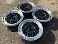 "ORIGINAL BBS RM 4x108, 7J 15"" DEEP DISH SPLIT RIMS ALLOY WHEELS, not borbet, azev, ats tm"