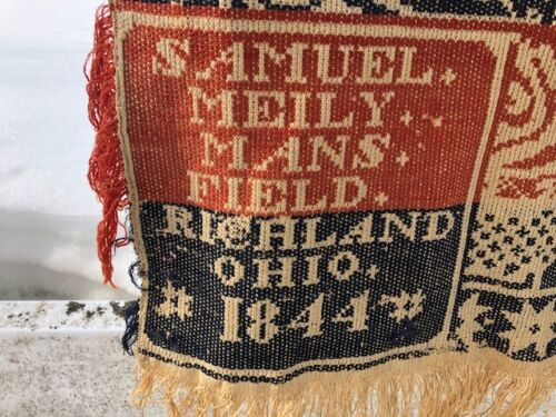 1844 Samuel Meily Mans Field Jaquard Coverlet Red and Blue