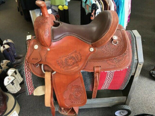 "Western barrel saddle 16""on eco leather buffalo color brown on drum dye finished"
