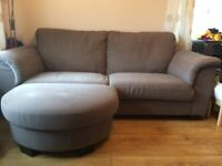 """Large brown, comfortable 2 seater sofa with footstool; seldom used 220cm (86"""") x 100cm (39"""")"""