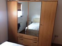 Large Beech Wardrobe with plenty of storage space - drawers, shelves, hanging spaces, mirrors