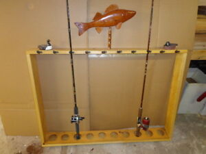 10 FISHING POLE and REEL HOLDER with WOODEN WALLEYE MOUNT