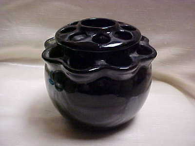 Circa 1940's Uhl Art Pottery Black Glaze Pansy Vase flower Holder / Frog top