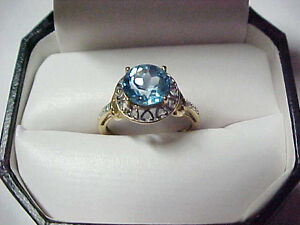 Elegant 10K Gold Ring 1 Carat Blue Topaz & Accents Solid 10 KT Yellow Gold 41714