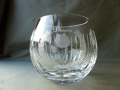 Stuart Crystal Diana commemorative cut and etched  vase, h9,1cm, signed, labels