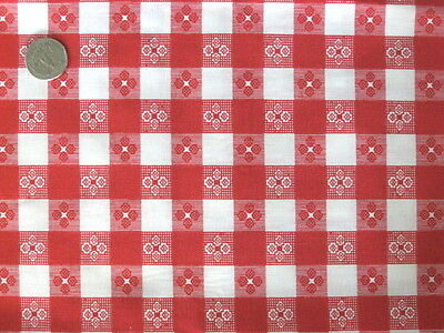 RED CAFE CHECK GINGHAM WESTERN COUNTRY ITALIAN SEW CRAFT DECOR FABRIC HALF YDS](Gingham Decorations)
